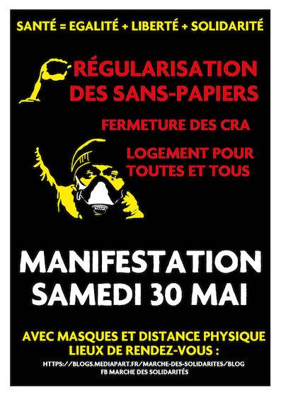 Appel à une manifestation le 30 mai 2020 : Marche des Solidarités pour les migrants