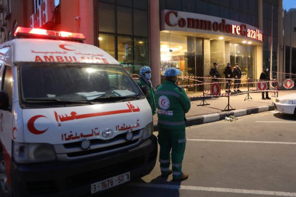 Ambuance à Gaza pendant a période du coronavirus