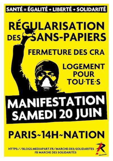 Manifestation pour la régularisation de tous les sans papiers le 20 juin 2020