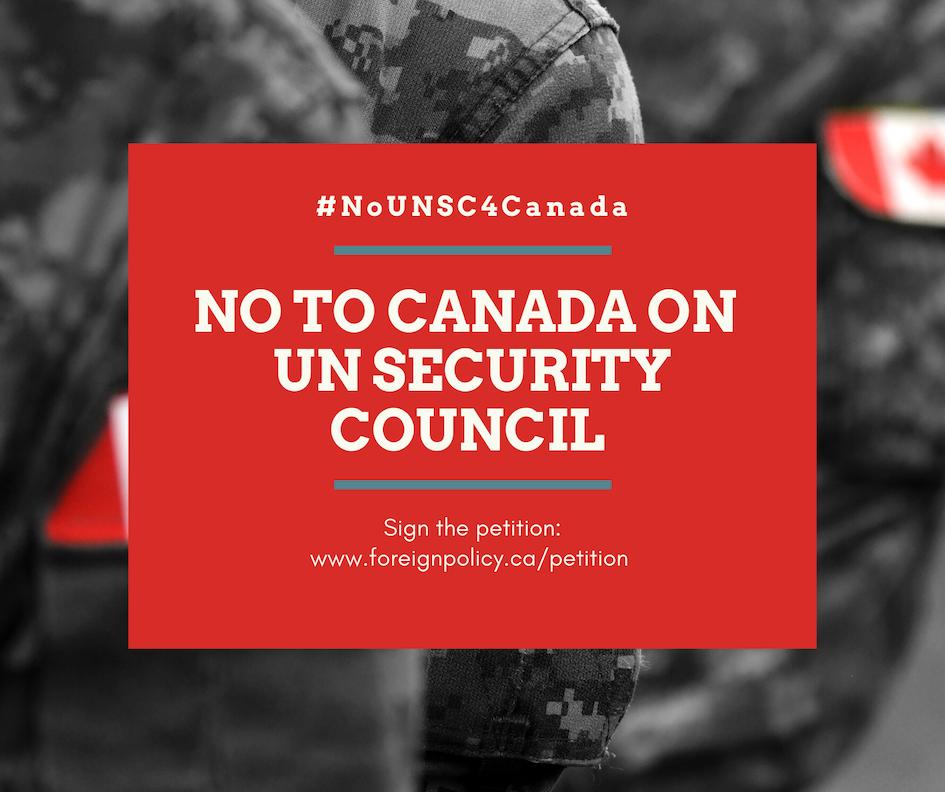 Non au Canada au conseil de sécurité de l'ONU