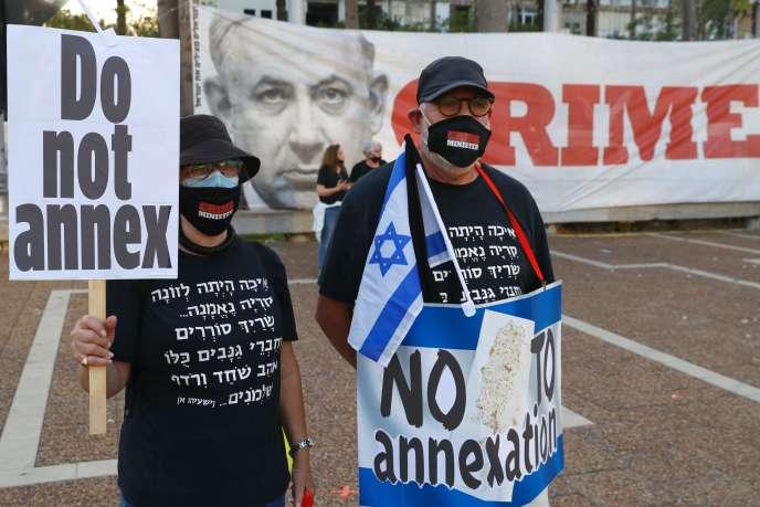 Manifestation à Tel Aviv le 6 juin pour dénoncer le projet d'annexion par Israël de quelque 30 % de la Cisjordanie occupée.