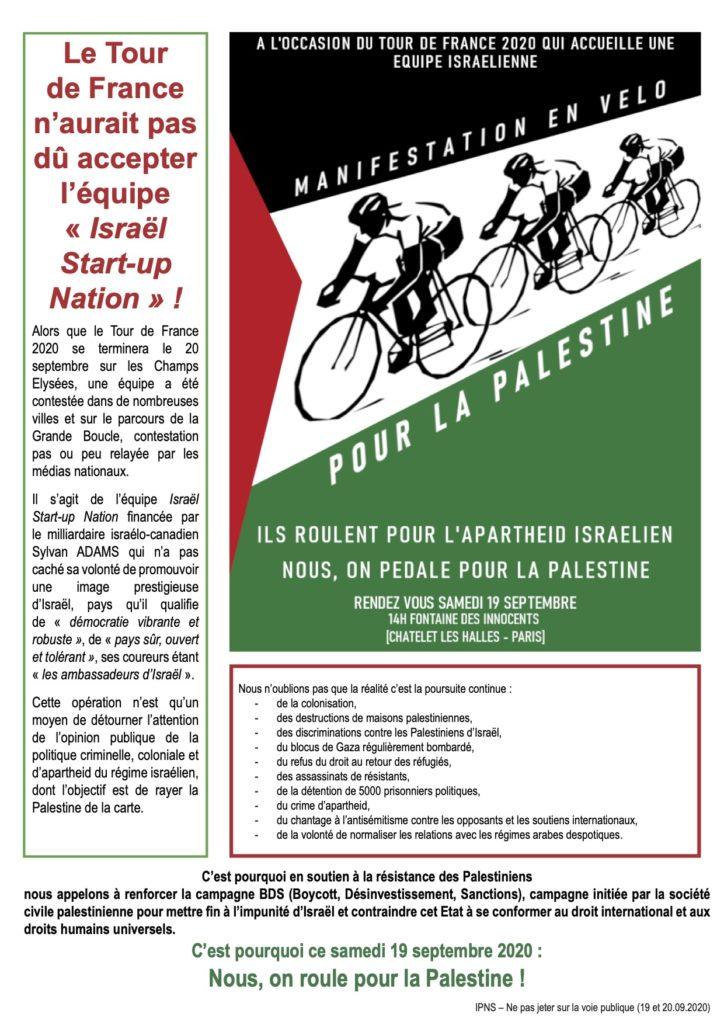 Manifestation vélo Tour de France Palestine