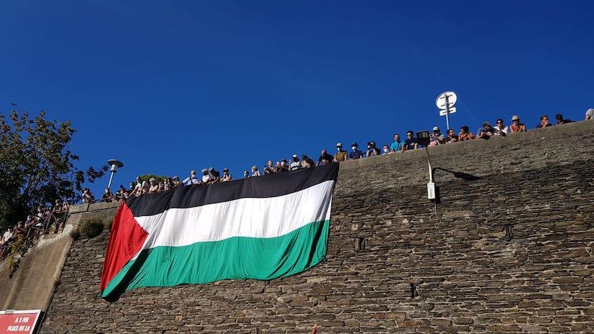 La Palestine à l'arrivée du Tour de France cycliste à Lyon ! (Photos)
