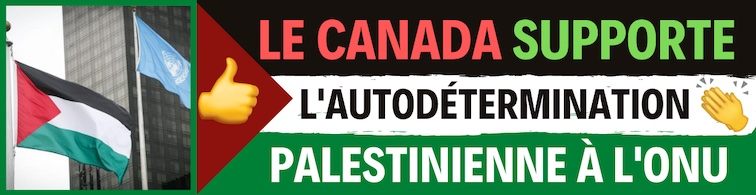 """ONU : Une fois n'est pas coutume : le Canada vote """"oui"""" à l'autodétermination des Palestiniens"""