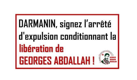 Georges Abdallah : Rassemblement devant le ministère de l'Intérieur le 17 décembre !