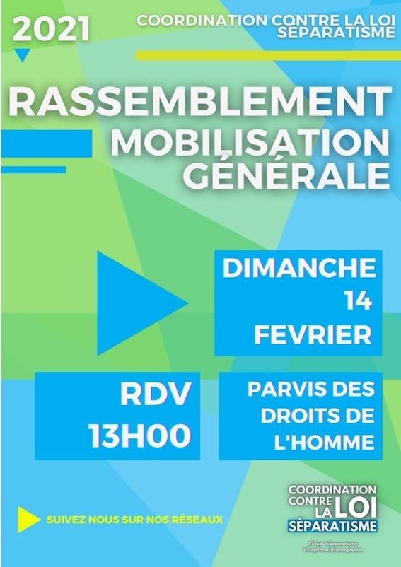 """Rassemblement ce dimanche à Paris contre la """"loi sur le séparatisme"""""""
