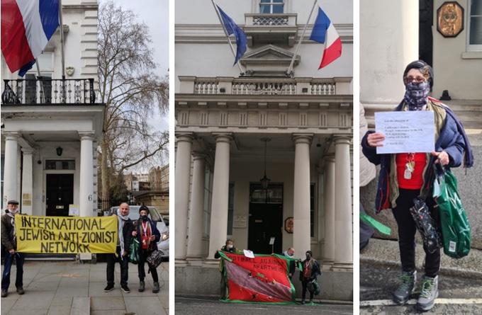 Londres : Des militants s'adressent à l'ambassade de France à propos du procès BDS à Lyon