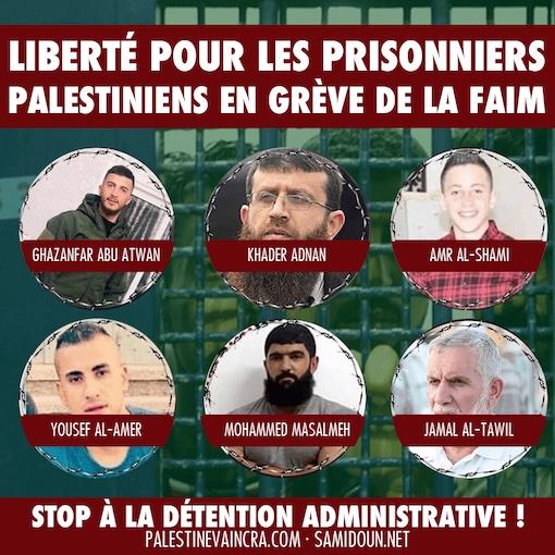 Six prisonniers politiques palestiniens en grève de la faim, et de nombreux leaders arrêtés