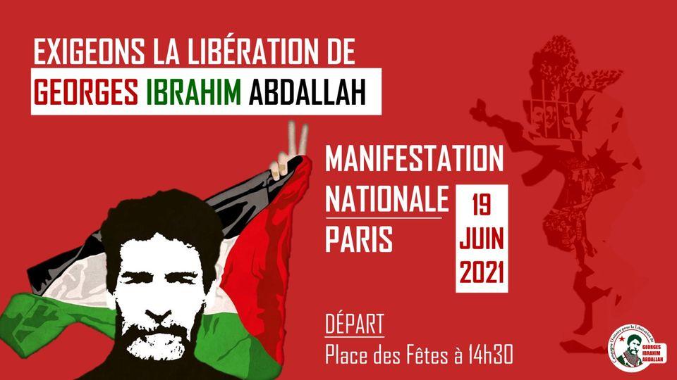 Manifestation pour la libération de Georges Abdallah le samedi 19 juin à Paris